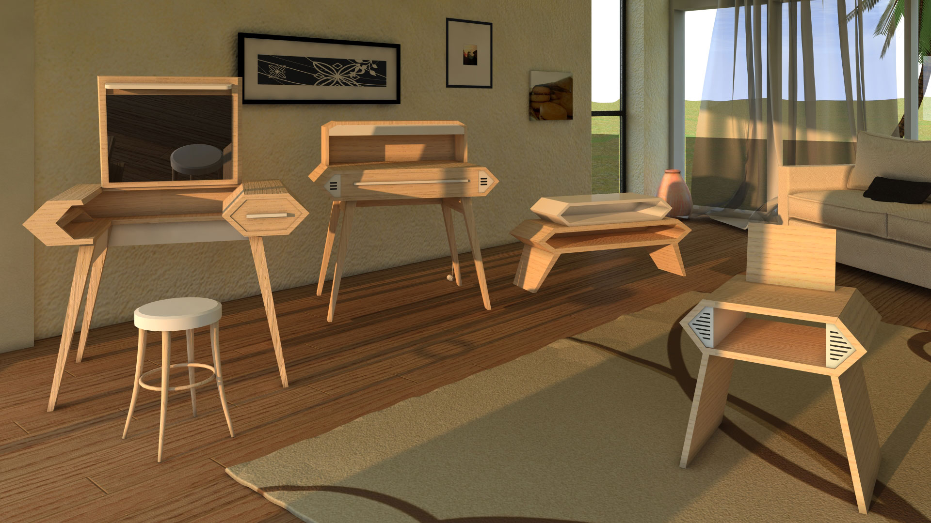 Modelisation 3 D d'une série de meubles d'ébénisterie connectés en style contemporain