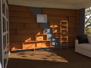 modelisation 3 D du projet d'une bibliothèque pour un salon avec une echelle en bois avec des elements blancs