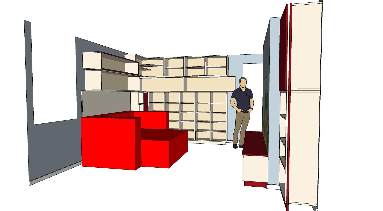 modélisation 3D d'une bibliothèque