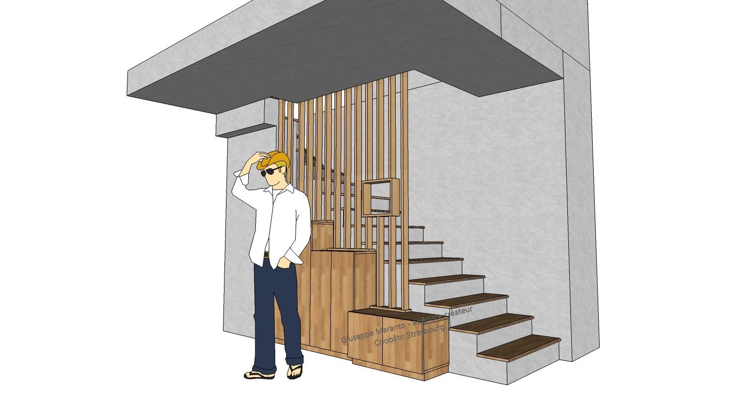 modélisation 3D d'un escalier en chêne