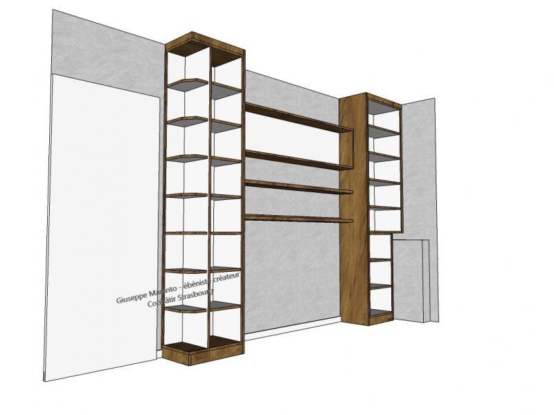 modélisation 3D d'une bibliothèque sur mesure